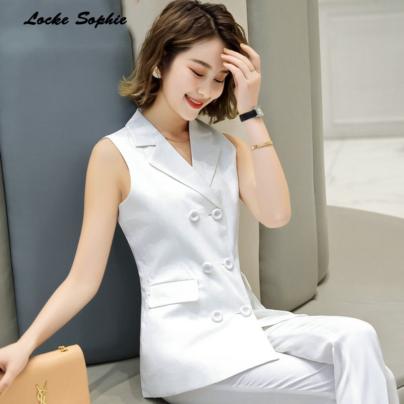 dd725630c Elegant Suit Blazer Vest Women Spring Summer Sleeveless Long Vest ...