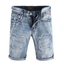 Fashion Streetwear Men's Jeans Top Quality Light Blue Color Vintage Destroyed Ripped Short Jeans For Men Summer Denim Shorts Men недорого