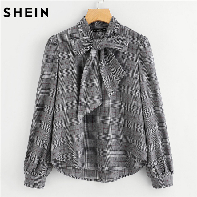 797c13b14405ea SHEIN Elegant Womens Tops and Blouses Work Women Blouses Grey Bow Tie Neck  Long Sleeve Regular Fit Plaid Blouse