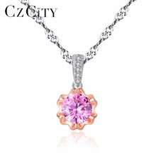 CZCITY Brand Simple Style Classic Pink Zircon Stone Shiny Women 925 Silver Two-Color Gold Pendant Necklace Water Wave Chain Gift