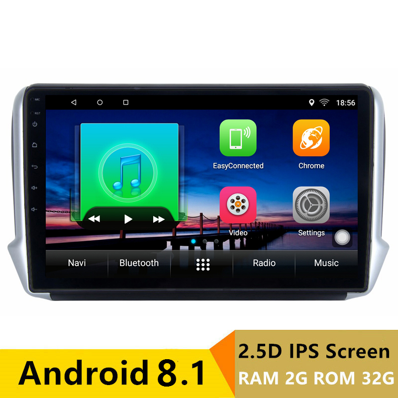 "10.1"" 2G RAM 32G ROM Android Car DVD Video Player GPS For Peugeot 2008 208 2013 2014 2015 2016 audio radio stereo navigation"
