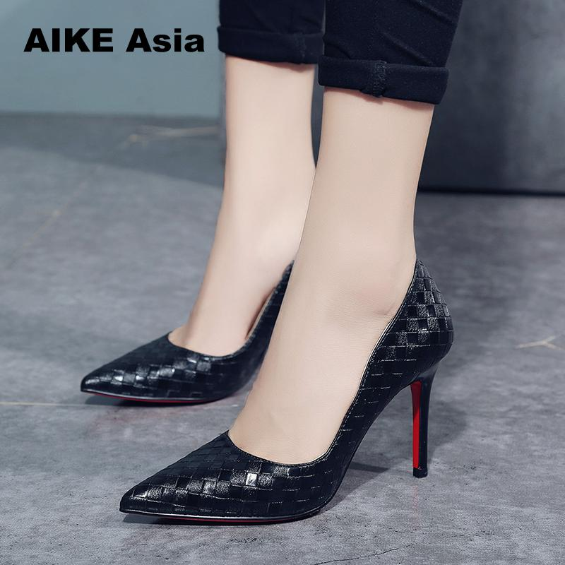 Super High Heels  Crocodile Printed Metal Thin  Women Pumps Black White Pointed Toe Sexy Wedding Shoes Valentine Wedges