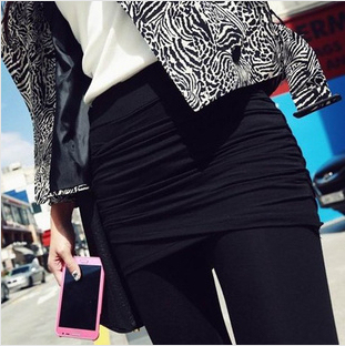 Free Shipping Spring Fall Women's Skirt Pants Legging with skirt Elastic Waist Hip Mini Skirt Leggings 3 colors