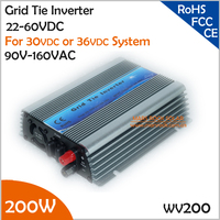 200W 22 60VDC 90 140VAC wide input voltage grid tie micro inverter for 30V or 36V solar panel or wind turbine