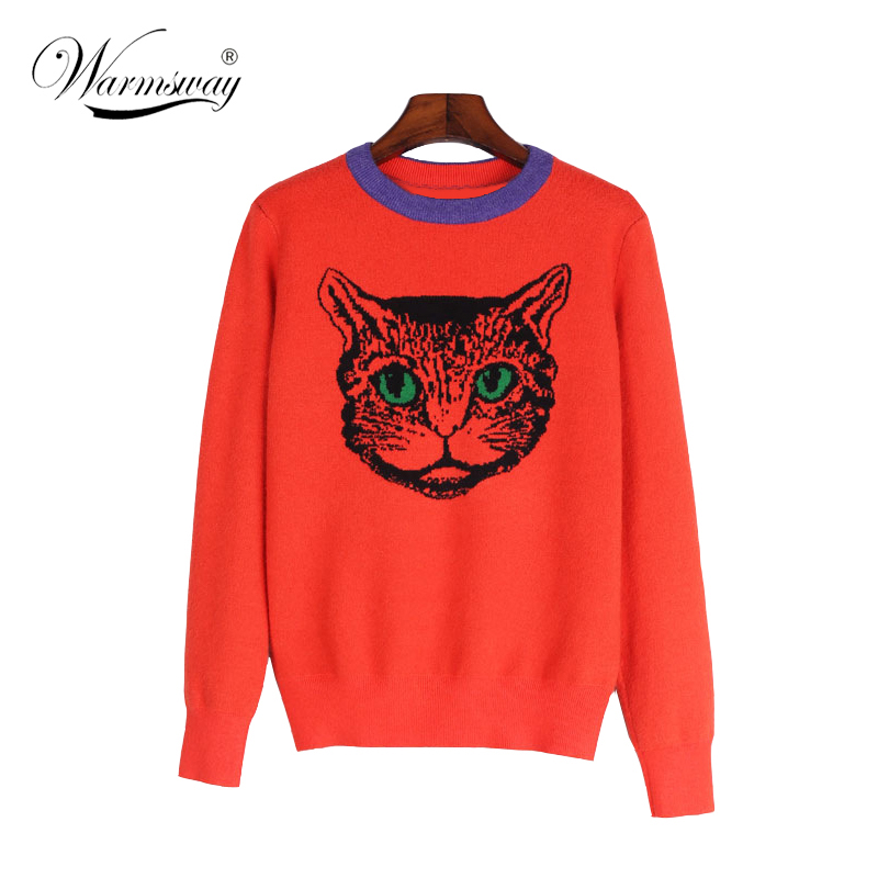 Brand Autumn Winter Women Fashion Sweater Onange Long Small Size Cartoon Cat Head Jacquard Pullovers Knitted Sweater C-190