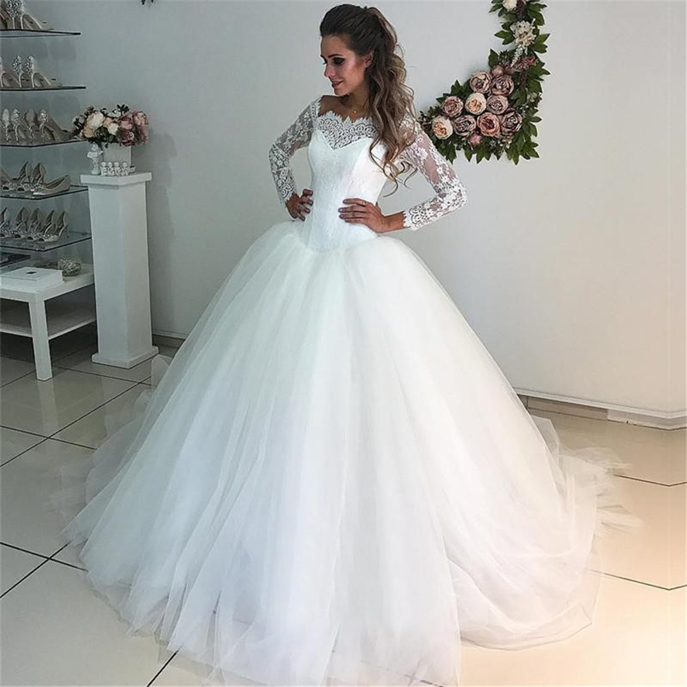 China Long Sleeves Wedding Dress Custom Made Lace Princess: 2019 Long Sleeve Wedding Dresses Hot Selling Lace Tulle