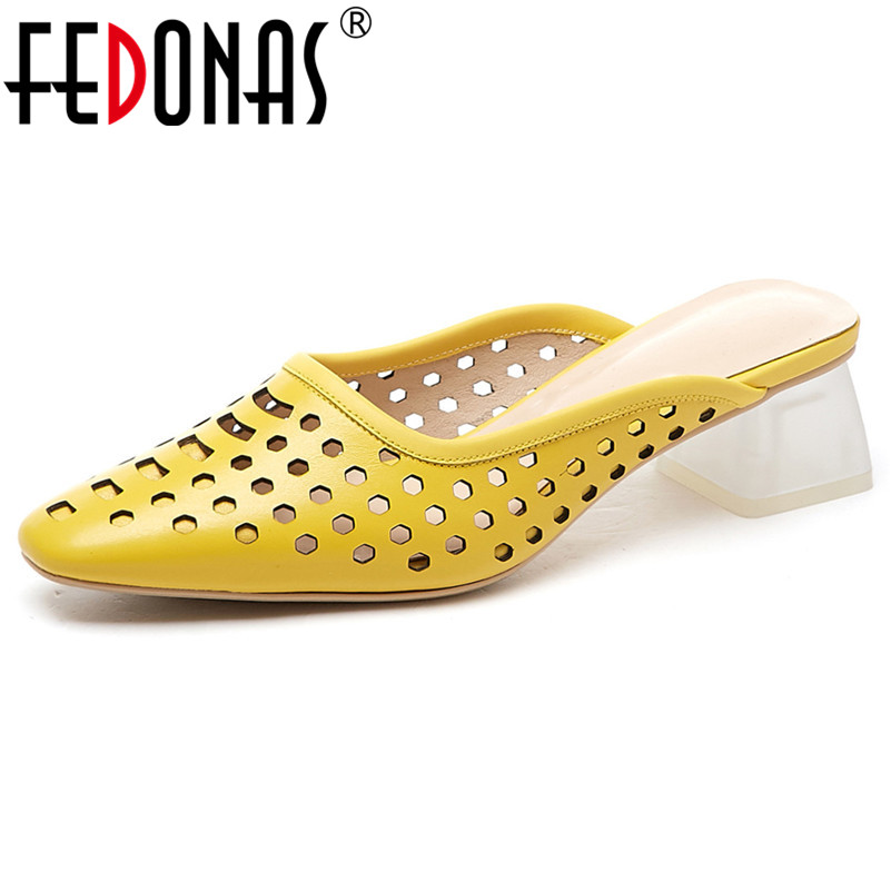 FEDONAS Pointed Toe Hollow Breathable Pumps Women New Classic Design High Quality Concise Summer Sandals Shoes Woman Basic Shoes