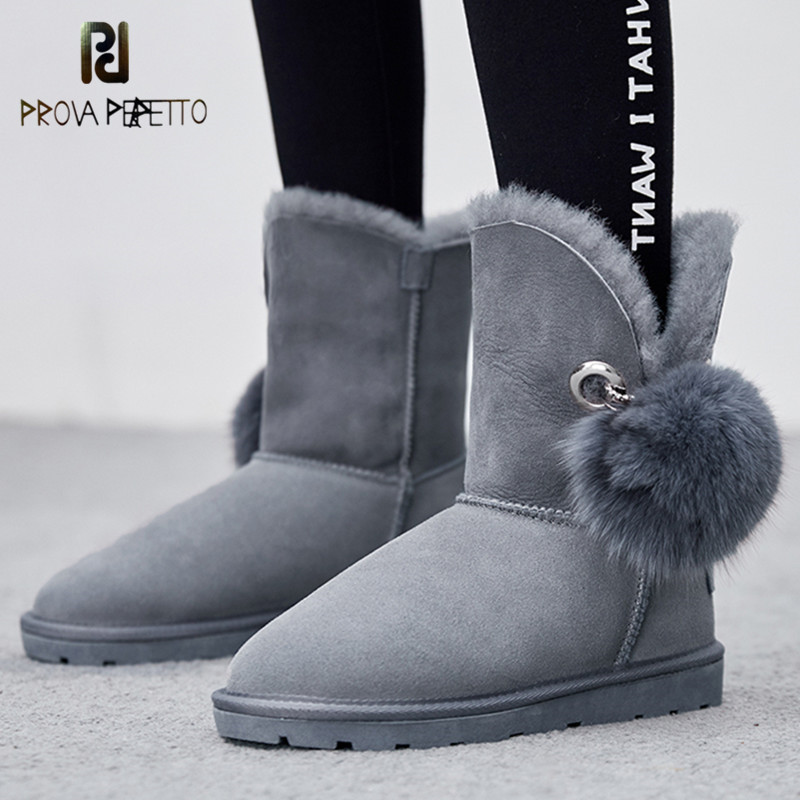 Prova Perfetto Warm Shearling Women Ankle Boots Flats Heel Wool Lining Real Sheepskin Winter Fur Shoes Woman Short Snow Boots 2018 newest shoes woman winter boots ankle shearling snow boots wool fur cozy chain boots platform design waterproof snow boots