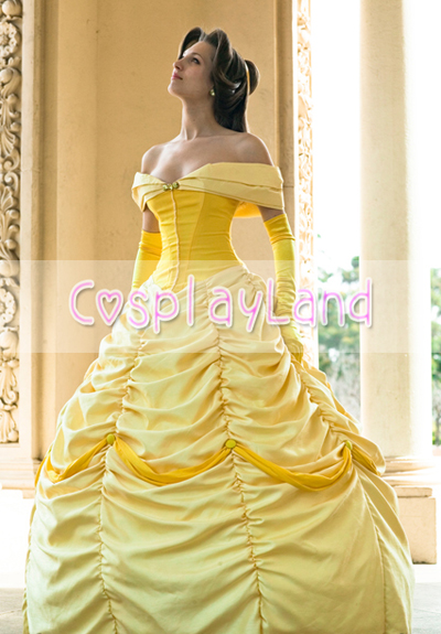 Princess Belle Cosplay Costume Dress From Beauty And The Beast