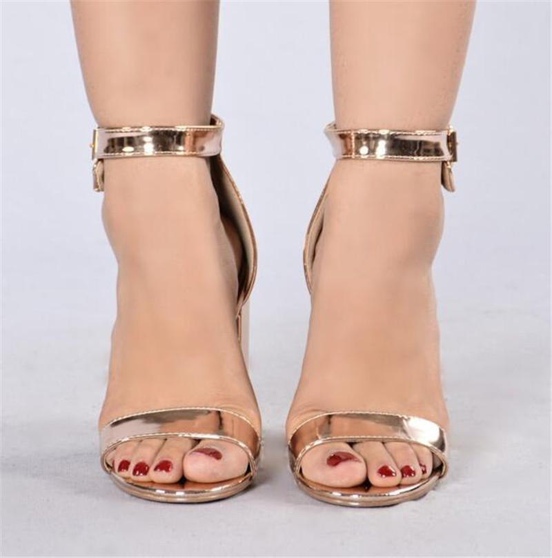ce77b464a788 Newest Women Fashion Open Toe Rose Gold Mirror Patent Leather Chunk Heel  Sandals Ankle Strap High Heel Sandals Free Shipping-in High Heels from Shoes  on ...