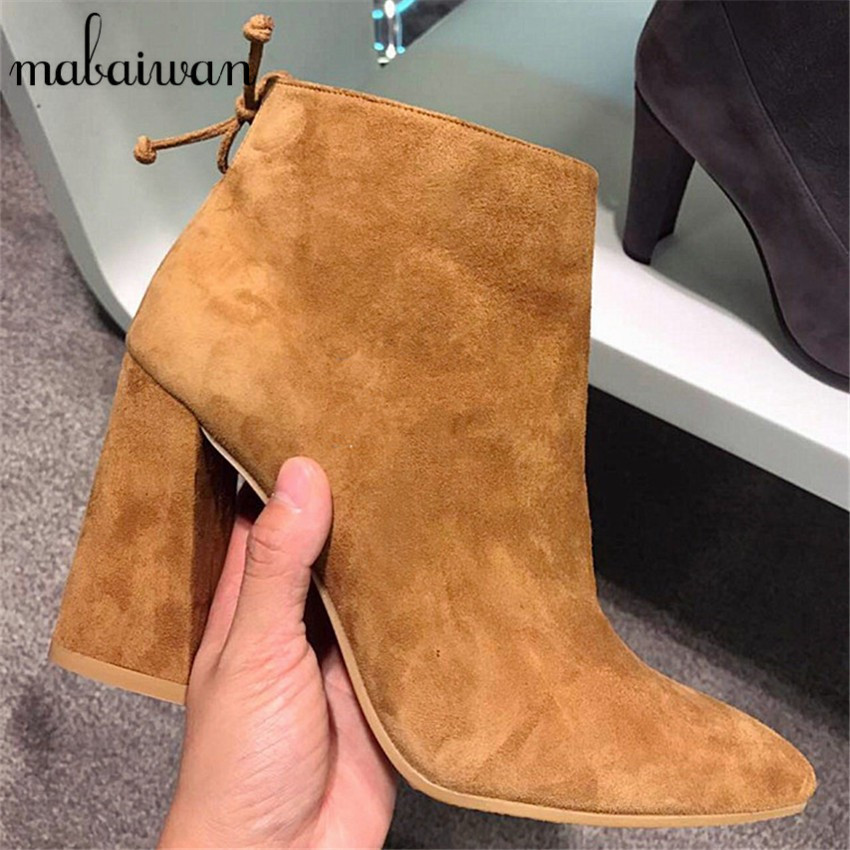 ФОТО Fashion Women Square Heel Ankle Boots Pointed Toe Side Zipper Suede Botines Mujer High Heels Women Pumps Short Botas