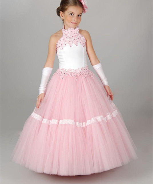 New Custom Made Girls Dress Ball Gown Halter Sleeveless Puffy Flower Girl Dress Girls Pageant Gown Size 2-16 fashionable sleeveless sequins embellish multilayered flower spliced mini ball gown dress for girl
