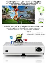 Brand CRE New 3800Lm Built-in Android 4.4 ,4.0 Bluetooth Smart Wireless Wifi RJ45 Home Theatre HD LED Video 1080P TV 3D Cinema