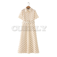 CUERLY women dots print maxi dress sashes turn down collar female casual short sleeve dresses Ankle length dresses CUERLY цена и фото