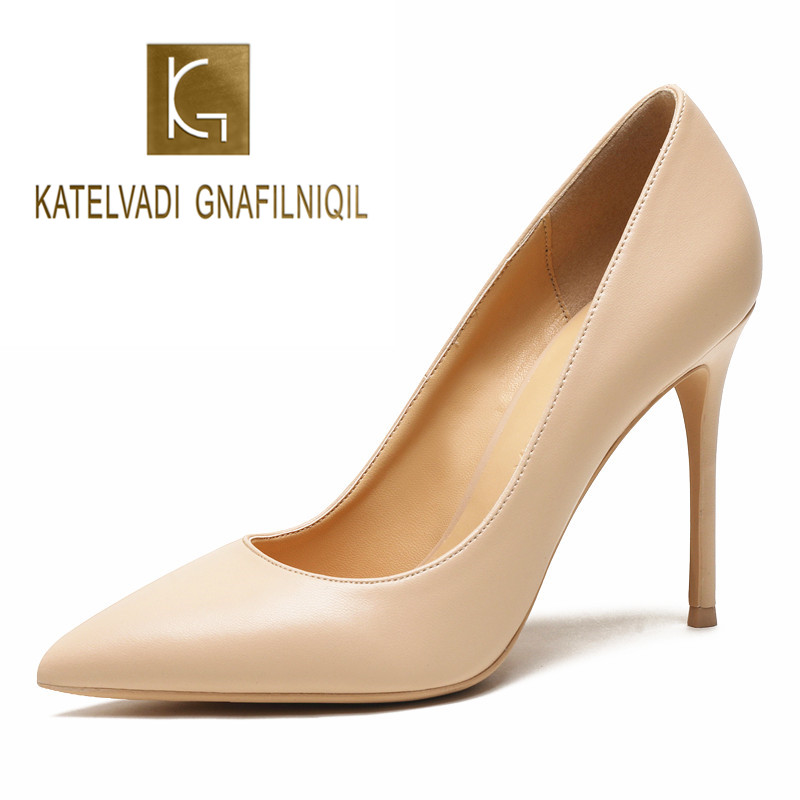 KATELVADI 10CM High Heels Shoes Women Pumps Beige Split Leather Woman Shoes Sexy Pointed Toe Wedding Party Shoes K-358