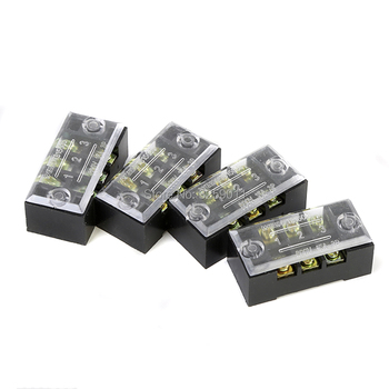 50PCS TB-4503 3 Positions Dual Rows 600V 45 A Wire Barrier Block Terminal Strip black Iron