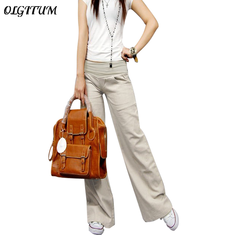 2019 new cotton casual   pants   big yards   pants   Korean yards was thin loose   wide     leg     pants   female summer straight trousers summer