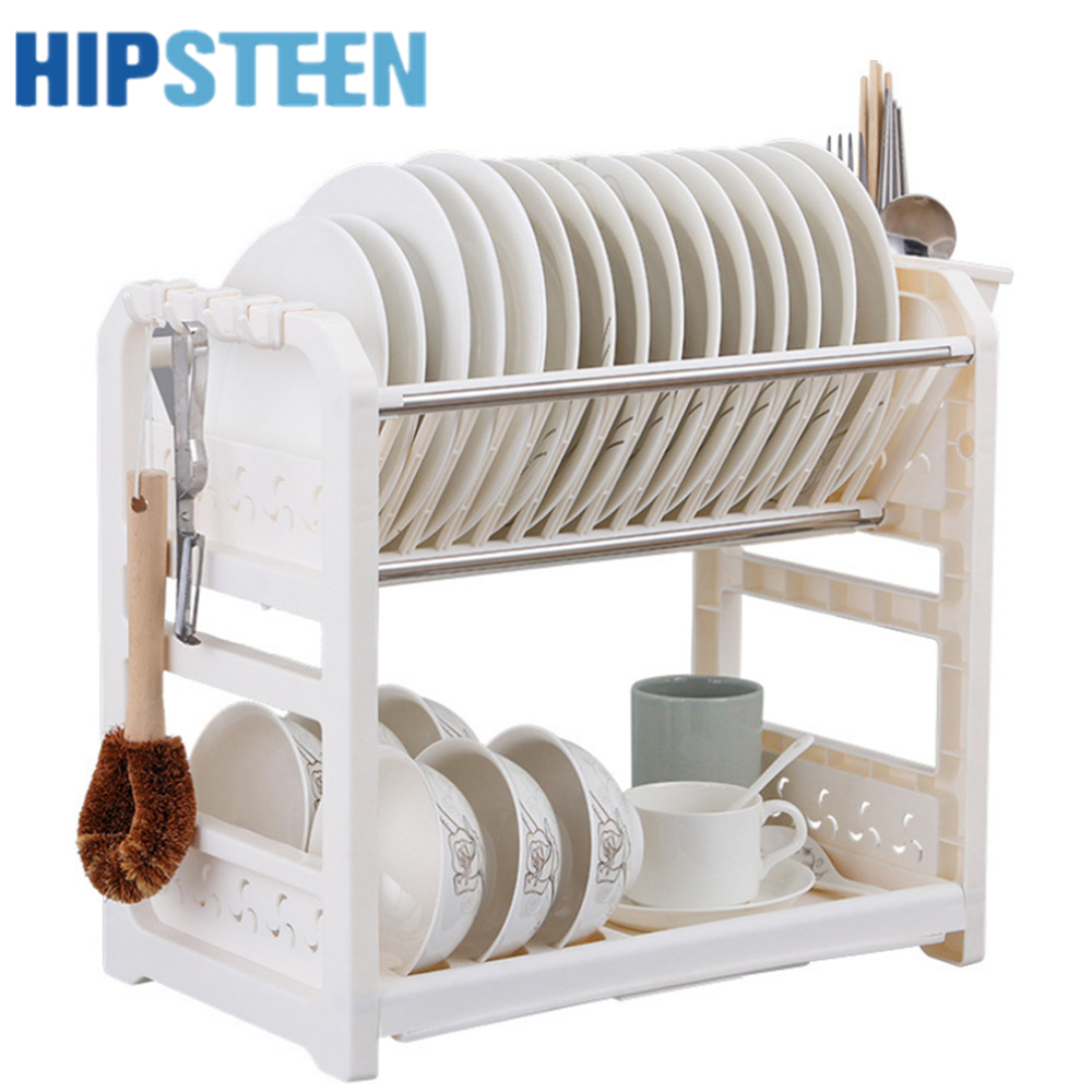 HIPSTEEN Multifunctional Kitchen Drain Racks Double deck Plastic Cupboard Chopsticks Tableware Storage Shelf