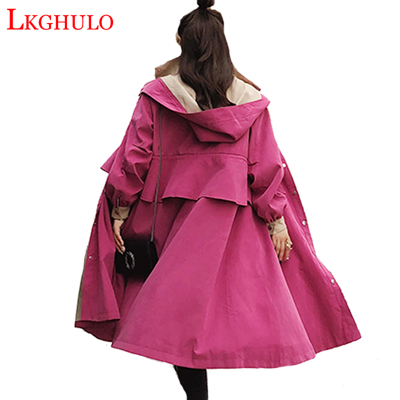2018 Fashion Women Trench Coat Loose Outwear Coats Female Spring Autumn Long Windbreaker Clothing Lady Raincoats with Belt A825