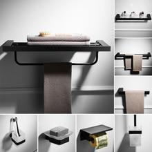 цены Stainless steel short towel rack bathroom glass shelf tissue box toilet bathroom hardware accessories set bathroom Nordic black