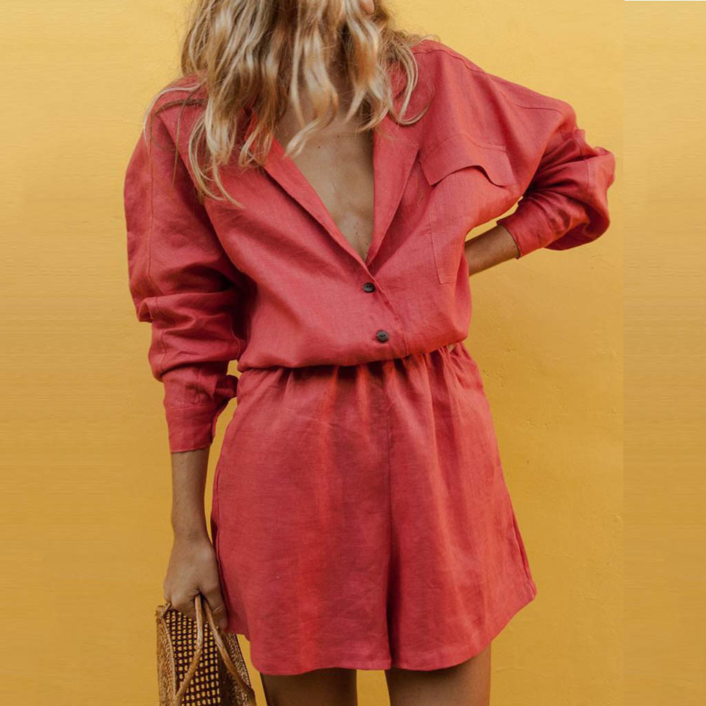 Feitong Summer Casual Women's Sets Turn Down Collar Long Sleeve Solid Two Piece Outfits Button Pocket Temperament Short Suit