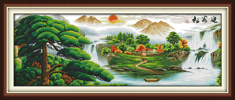 Guest-greeting pine(9) cross stitch kit China river 14ct 11ct count printed canvas stitching embroidery DIY handmade needlework
