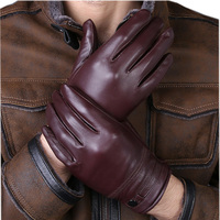 Men S High Quality Genuine Leather Gloves 2018 New Arrival Real Sheepskin Mittens Warm Winter For