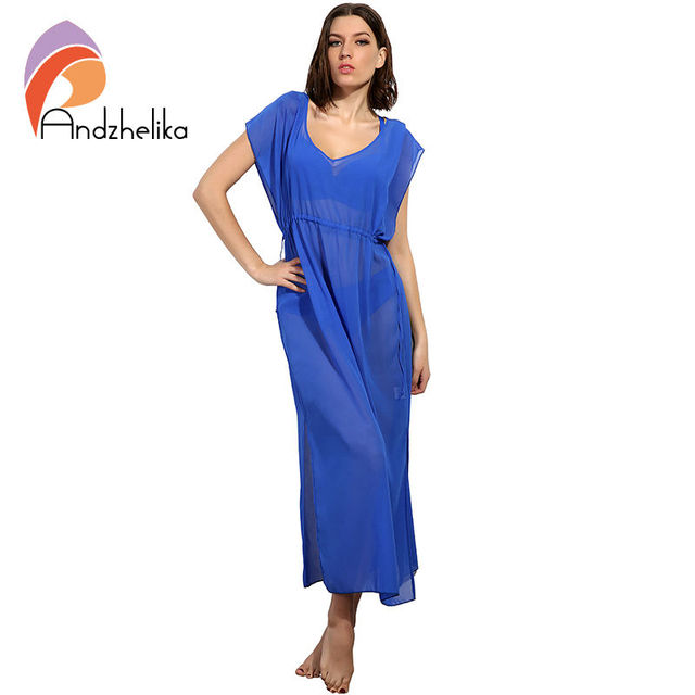 Andzhelika Swimsuit 2017 Beach Cover Up Women Solid Swimwear Cover Up Dress Beach Wear Cover Ups Long Dress Cover Up Bathingsuit