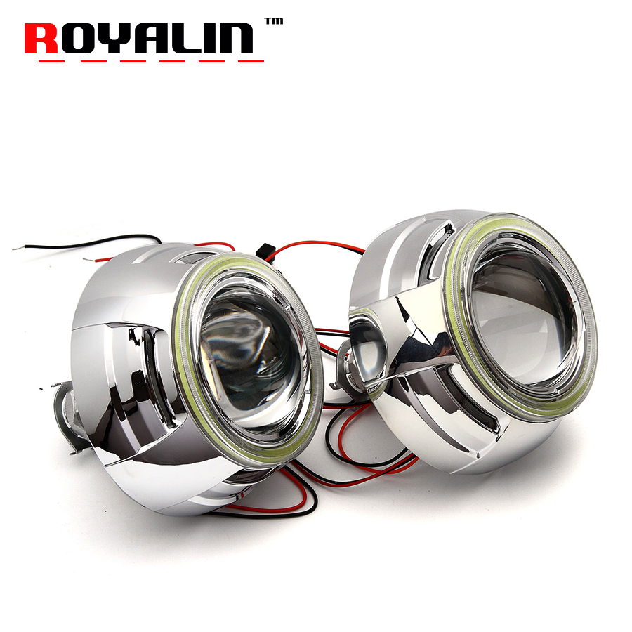 ROYALIN 3 inch H1 Headlights Lens Bi Xenon Projector with 95mm White LED COB Angel Eyes for H4 H7 Car Light Accessories Lenses royalin car styling hid h1 bi xenon headlight projector lens 3 0 inch full metal w 360 devil eyes red blue for h4 h7 auto light