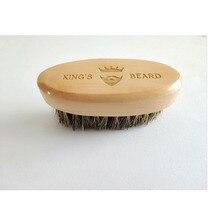 Pędzel do golenia dla mężczyzn przenośny Mini szczecina z dzika szczotka do brody wąsy pielęgnacja brody wygraweruj Logo 8x4cm