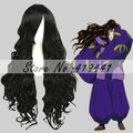 Free Shipping 80cm Long Wave Inuyasha Naraku Black Hair Wig Synthetic Anime Cosplay Costume wig