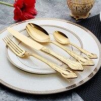 4pcs Luxury Western Silverware Relief Cutlery Dinnerware Set Dinners set Steak Knife Fork Coffee teaspoon Kitchen Tableware Tool