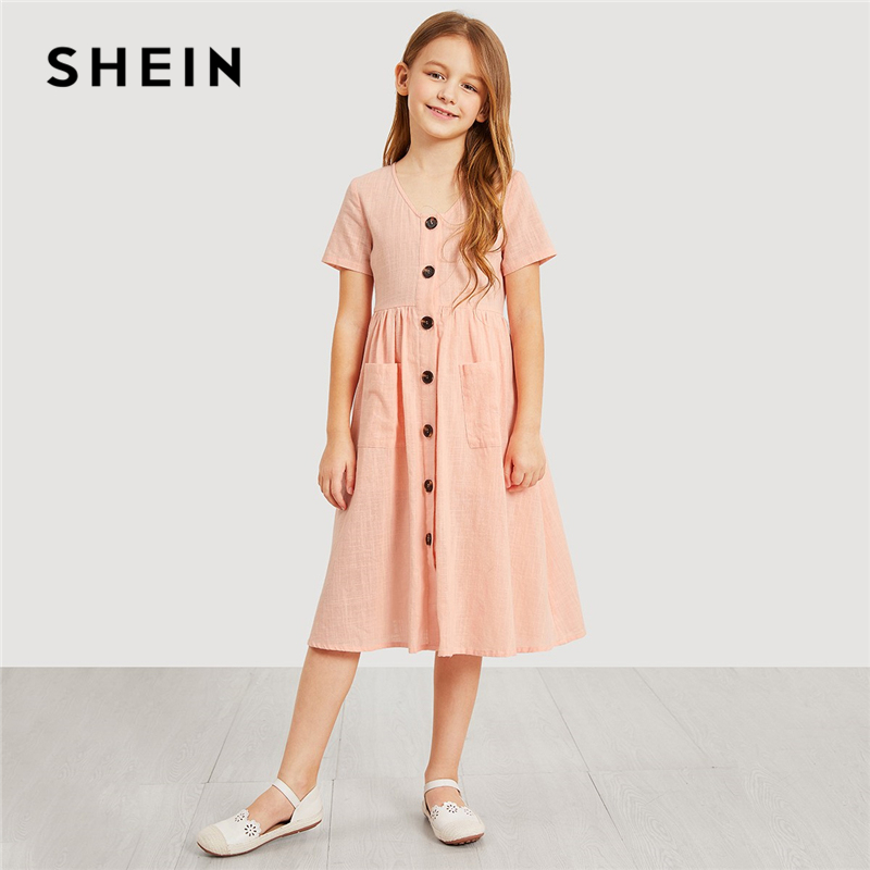 SHEIN Kiddie Pink V Neck Button Up Pocket Front Trapeze Girls Shirt Dress 2019 Spring Elegant Kids Dresses For Girls Clothes self tie dual pocket front dress