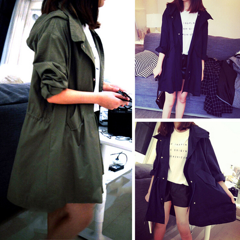 Harajuku Women Coats 2018 new spring fashion/Casual women's Trench Coat long Outerwear loose clothes for lady good quality