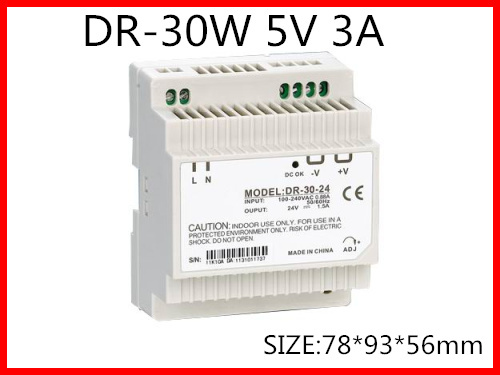 DR-30-5 Din Rail Switching power supply 30W 5VDC 3A Output Free Shipping 5 30