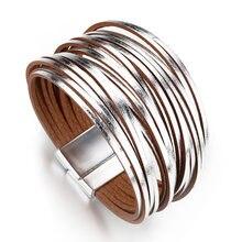 Allyes простой золотистый кожаные браслеты для женщин Мода 2020