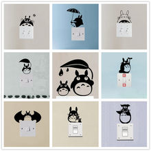 % 3D cartoon dieren Anime kat Totoro Mom En Totoro Baby Switch Sticker Vinyl Switch Decor Woonkamer slaapkamer muur stickers(China)