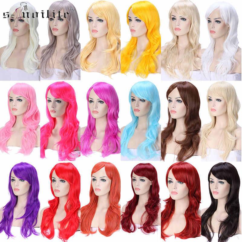 SNOILITE 23 дюймов Длинные свободные волны Косплей парики розовый черный синий коричневый красный женский парик термостойкий синтетический парик для косплея