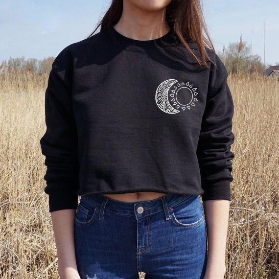2017 Black Gray Jumper Tumblr Cute Hoodies Women Sweatshirt Moon Sun Kawaii Clothes Crop top Hoodie Tops punk Japanese Style