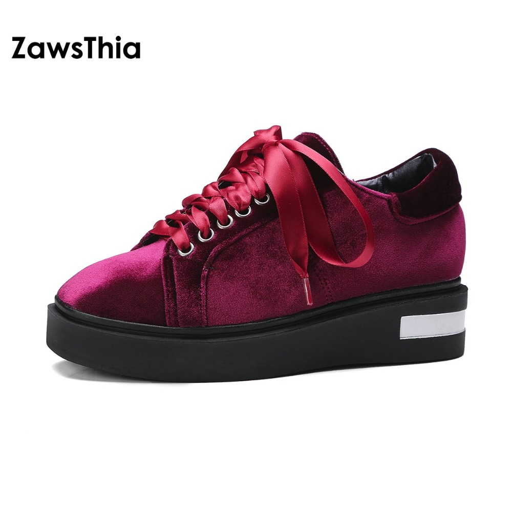 ZawsThia velour velvet square toe lace up women shoes flat platform leisure casual shoes for woman sneakers chaussure homme цены