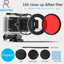 58mm 16X HD Close-up Macro Lens Adapter Ring Camera Lens red Filter for GoPro HERO 4 3+ hero4 Session black Camera Accessories цена и фото