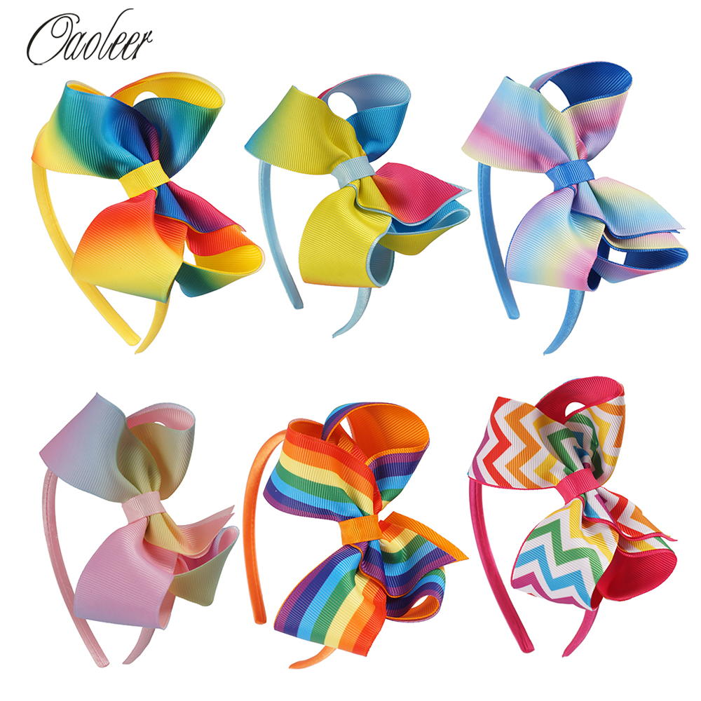 6Pcs/lot 4inch  High Quality Rainbow Hairbands Princess Hair Accessories Boutique Tiara Hairband Girl Headband Hair Accessories