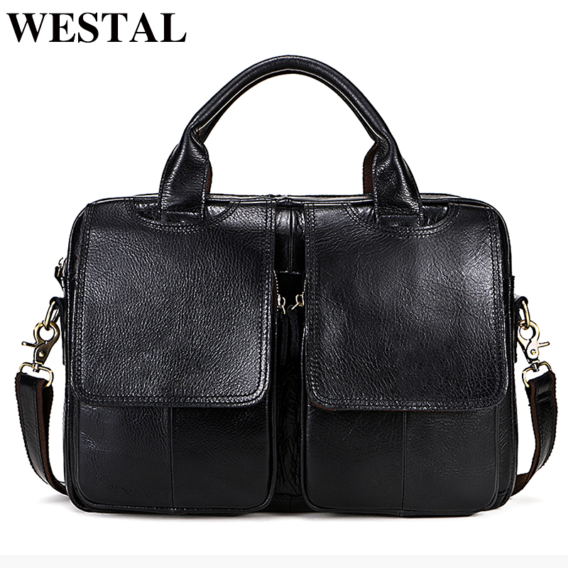 WESTAL Genuine Leather Messenger bag men Totes Leather Handbags Laptop Bags Shoulder Men Bag Briefcases Male new crossbody 8002 black genuine leather men bag laptop briefcases handbags men shoulder bag strap crossbody bags messenger bags men leather totes