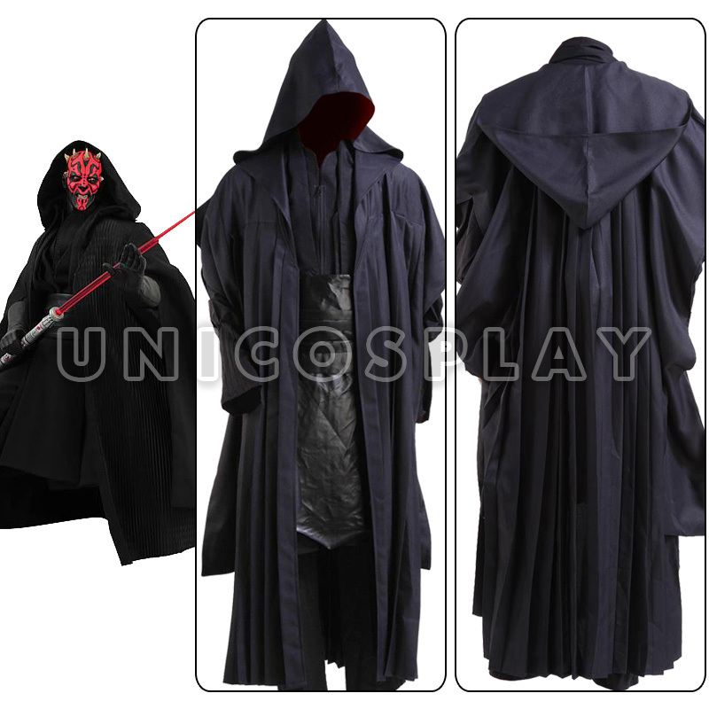 Star Wars Robe Costume Darth Maul Jedi Tunic Cosplay Halloween Cloak Uniform for Adult Kids Black Cape