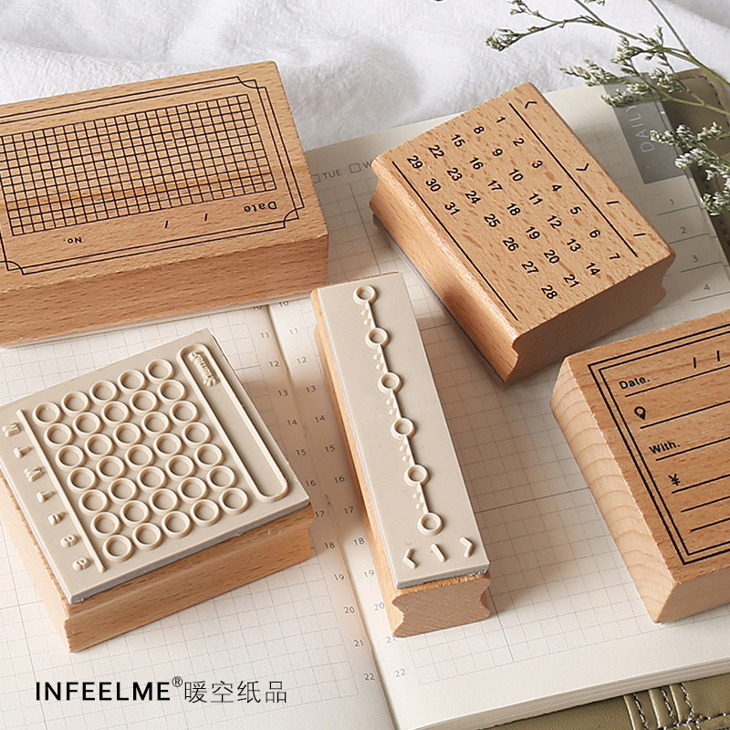 Vintage Daily Planner Date/week/Monthly Wooden Rubber Stamps For Scrapbooking Stationery DIY Craft Standard Stamp