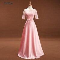Peach Color Lace Bridesmaid Dresses Long 2018 silk satin Beach Garden Wedding Party Formal Junior Half Sleeves Prom Gown