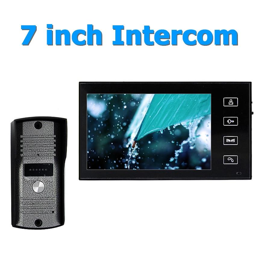 7inch Wired Two way audio Video Door Phone Video Intercom System With Waterproof Outdoor IR Camera