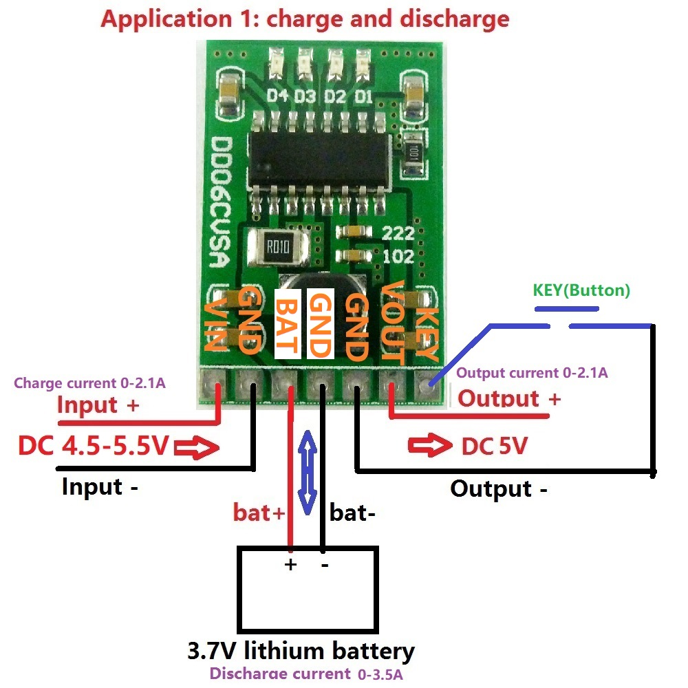 DC 5V 2A 3 7v/4 2V Charge/Discharge boost /battery protection /indicator  module lithium for Solar charging Bluetooth Wifi MP3