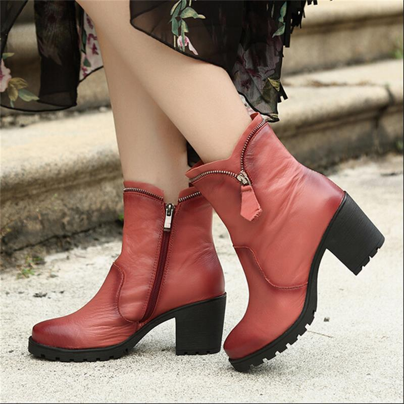 Vintage handmade genuine leather women shoes ankle boots round toe platform high heels thick heels side zipper boots 9968-1 handmade genuine leather boots vintage national trend women boots twiddlefish platform flat heels boots women shoes