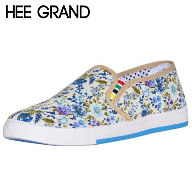 HEE GRAN Zapatos de Mujer Floral Dulce Mujeres Ocasionales de Los Planos de Deslizamiento En Los Holgazanes de La Manera Zapatos de Lona De Primavera 4 Colores XWD1856